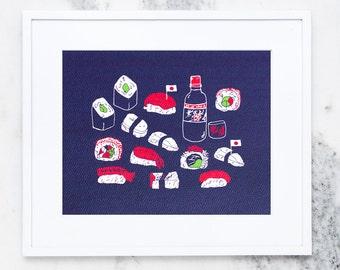 Sushi Sushi Art Print, Art Prints,Made In USA, Food Prints, Foodie Prints, Sushi, Japanese