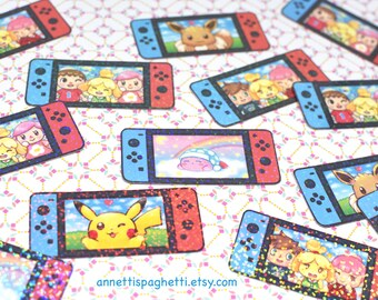 570c46e4 Nintendo Switch Themed Sparkly Vinyl Sticker Pack, 5 Piece Sticker Set,  Animal Crossing, Smash Ultimate, Kirby, Let's Go Pikachu Eevee