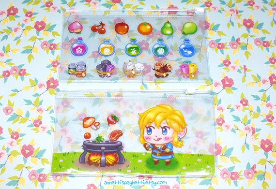 Kawaii Clear Pouch Animal Crossing Pocket Camp Pouch Breath Of The Wild Clear Pencil Pouch Cute Clear Zipper Bag Kawaii Video Game Gifts