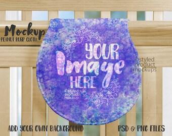 Awesome Dye Sublimation Peanut Shaped Burp Cloth On Crib Mockup Machost Co Dining Chair Design Ideas Machostcouk