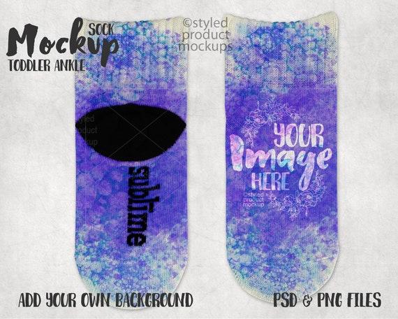 Dye Sublimation Sublime Toddler Ankle Socks Mockup Template