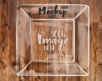 Download Free Large square glass plate mockup template | Add your own background | Etched glass mockup PSD Template