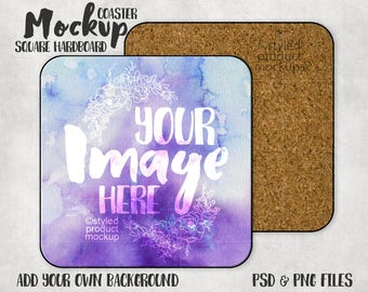 Download Free Square hard board coaster mockup with front and back view | Add your own image and background PSD Template