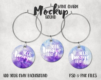 Download Free Round sublimation wine charm template mockup | Drink Tag Mockup | Wine Glass Charm PSD Template