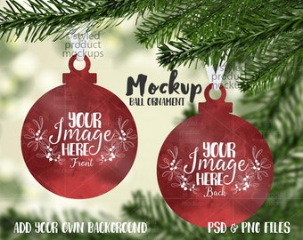 Download Free Ball ornament shaped double sided Christmas ornament mockup template |Add your own Image and Background PSD Template