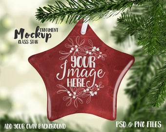 Download Free Star shaped glass Christmas ornament mockup template |Add your own Image and Background PSD Template
