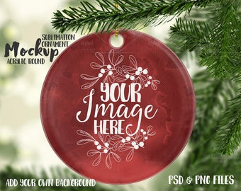 Download Free Round sublimation acrylic Christmas ornament mockup template |Add your own Image and Background PSD Template