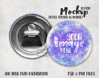 Download Free Button Bottle Opener with magnet Mockup Template with Front and Back view PSD Template
