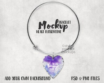 Download Free Dye Sublimation bangle bracelet with heart shaped Florentine charm mockup template | Add your own art and background PSD Template