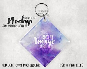 Dye Sublimation Diamond shaped Acrylic keychain Mockup Template