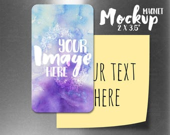 Download Free Vertical sublimation 2 x 3.5 inch magnet template mockup | Add your own image and background PSD Template
