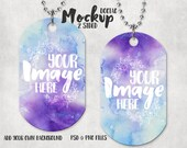 Dye Sublimation two sided dogtag pendant mockup template with bead chain Add your own art and background