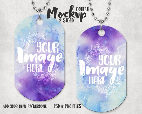 Dye Sublimation Two Sided Dogtag Pendant Mockup Template
