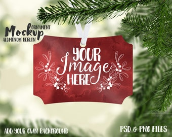Download Free Berlin aluminum Christmas ornament mockup template |Add your own Image and Background PSD Template