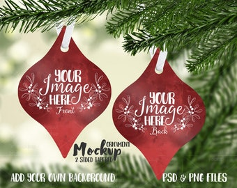 Download Free Tapered double sided aluminum Christmas ornament mockup template  Add your own Image and Background PSD Template