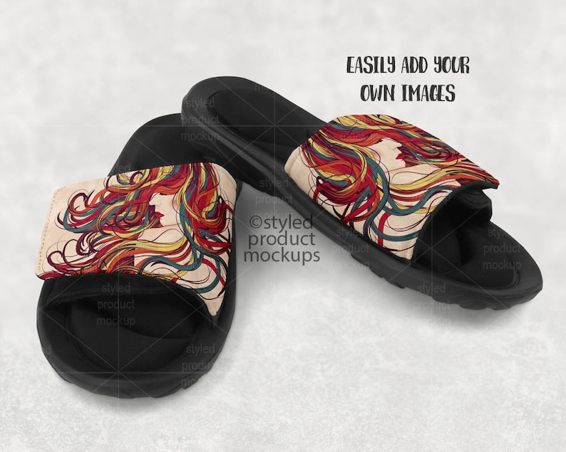 035877eca3da6 Dye Sublimation Slider Sandals mockup template | Add your own image and  background