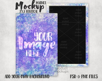 Rectangle shaped 2X3 inch vertical magnet Mockup | Add your own image and background