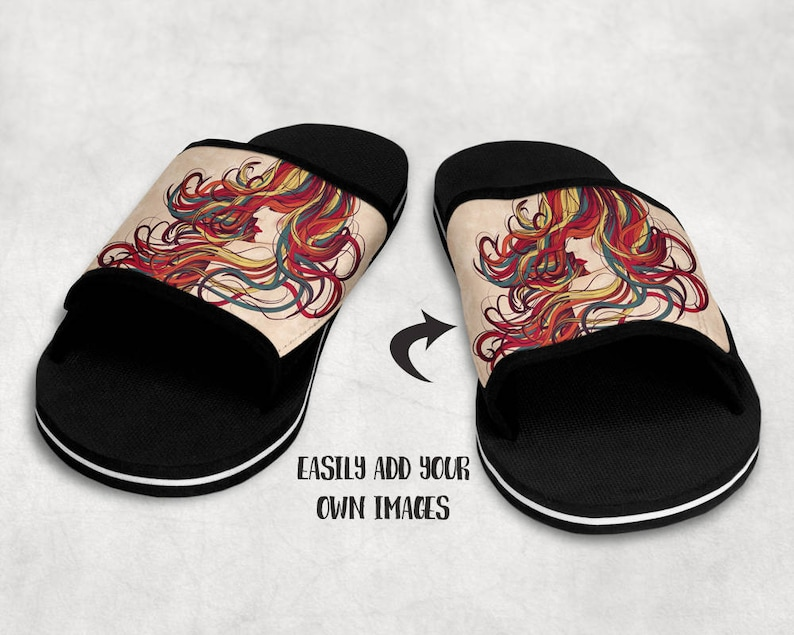 3c692022a2075 Dye Sublimation Sandals mockup template | Add your own image and background