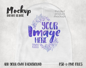 Dye sublimation infant beanie cap mockup template   Add your own image and background