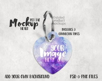 Heart shaped pet tag template mockup laying flat with key ring connector