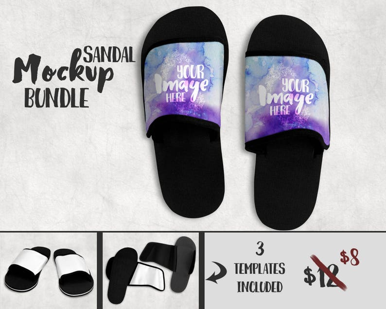 d8a6f44ef Dye Sublimation Sandals mockup template Add your own image | Etsy