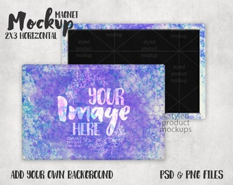 Rectangle shaped 2X3 inch horizontal magnet Mockup | Add your own image and background