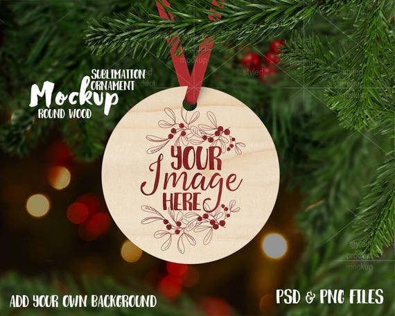 round wood christmas ornament mockup template etsy