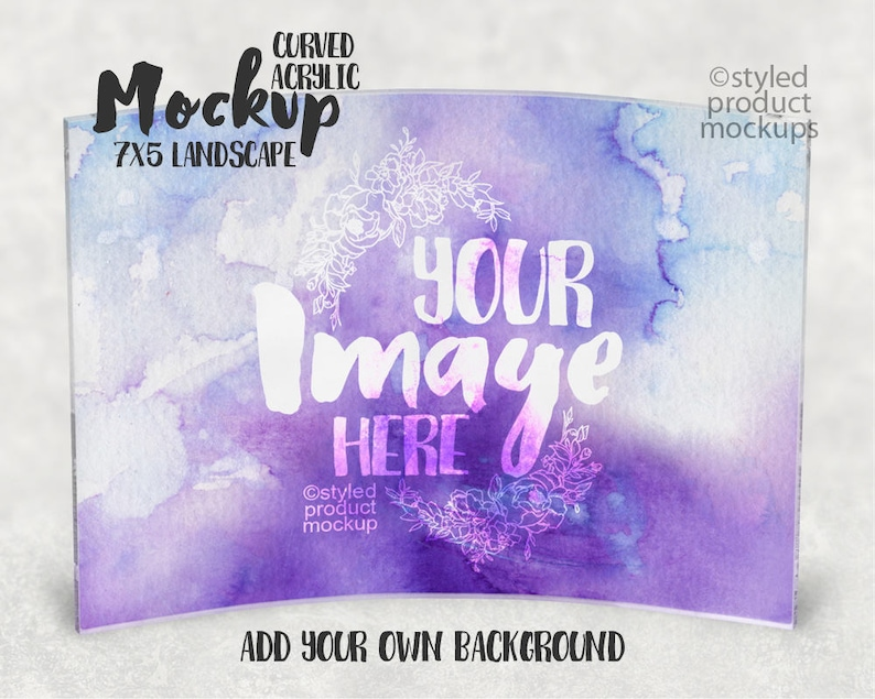 Add your own Image and Background Dye Sublimation Curved Acrylic mockup template