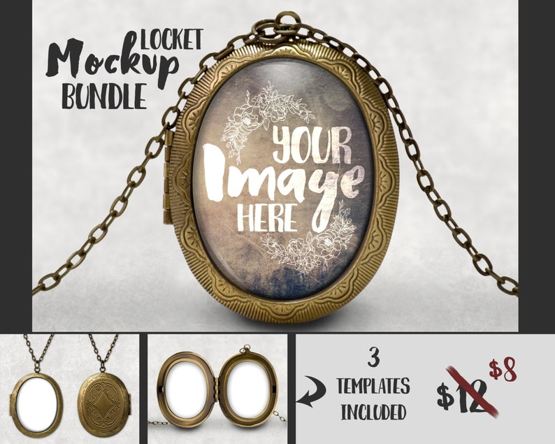 Oval Locket Pendant Mockup Template | Jewelry Photography | Necklace Mockup  | Charm Mockup | Pendant Template