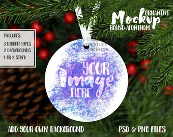 Dye sublimation round aluminum Christmas ornament mockup   Add your own image and background