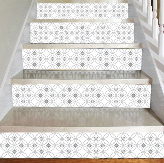 4714 Tile Decals Stair Riser Stickers Removable Stair Riser Stair Riser Deco Strips Stair Riser Decals 120cm width Peel /& Stick