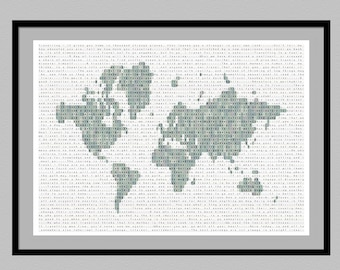 Travel quote map of the world print | world map travel print | housewarming gift | new home gift | traveler gift | travel decor | poster