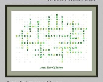 Personalized travel list crossword style print |  customized travel print | bucket list print | traveler gift | custom home decor art poster