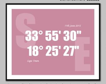 Personalized longitude latitude print | GPS coordinates print | housewarming gift | new home gift | travel print | typography poster