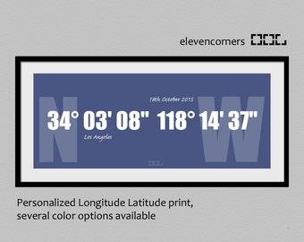 Personalized longitude latitude print | GPS personalised coordinates print | housewarming gift | new home gift | typography travel print
