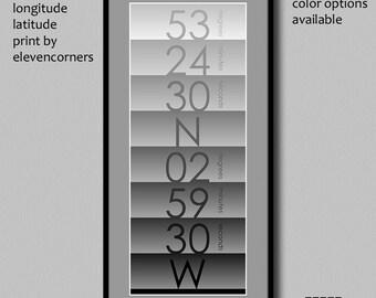 Personalized longitude latitude print | custom travel print | housewarming gift | new home gift | GPS coordinates print | minimalist poster