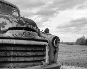 Abandoned Old GMC Truck in Field Rural Decay Black and White BNW Photograph Fine Art Print