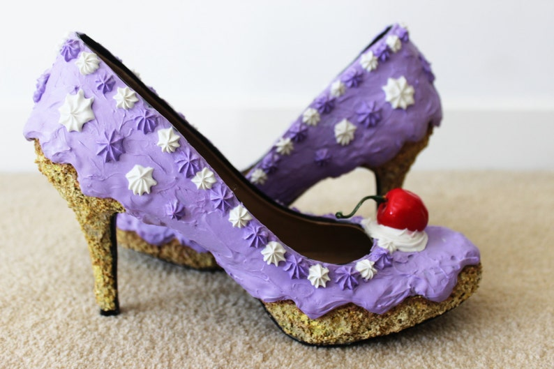 aad459af45c8 Purple Iced cake shoes lower heel