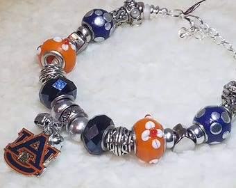 Blue and Orange  Auburn Charm Bracelet