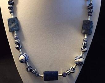 Lapis Lazuli & blue ceramic bead necklace