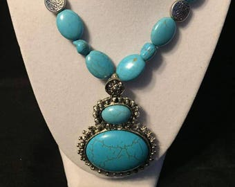 Polished turquoise & Tibetan silver necklace