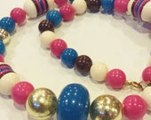 60 39 s Retro Hot Pink, Teal Blue, Brown, Gold Cream Acrylic Round and Button Beads, Vintage Plastic Necklace with Spring Ring Closure
