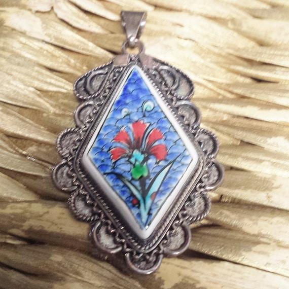 Oriental Tile Design Tulip Flower Earrings Glazed Ceramic Handmade Pottery Earrings Designer Hand Painted Statement Jewelry