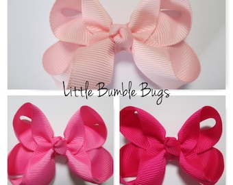 Baby/Toddler/Girl/Adult 2.5 Inch Boutique Hair Bows on Lined Alligator Clip - School and Everyday wear - Light Pink Hot Pink Shocking Pink