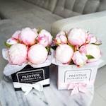 Silk peonies peony Flower Box arrangement home decor Christmas gift pink white black wedding birthday