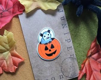 Trick or Treat Pumpkin Pete Possum Pin