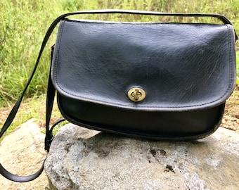 7e569ca783 ... discount reserved coach bag crossbody shoulder satchel black adjustable  strap nyc 60s 70s genuine leather lock ...