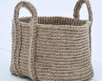 handmade jute rectangular basket, large crochet organizer,  bathroom storage, home decor, raw, natural, rustic, boho, jute twine bin