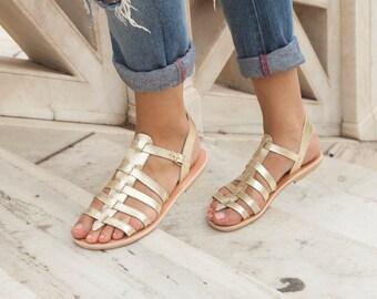 Sandales en cuir, Sandales femme, sandales grecques, sandales gladiateur, sandales à la main pour femmes, sandales or, chaussures d'été, sandales romaines
