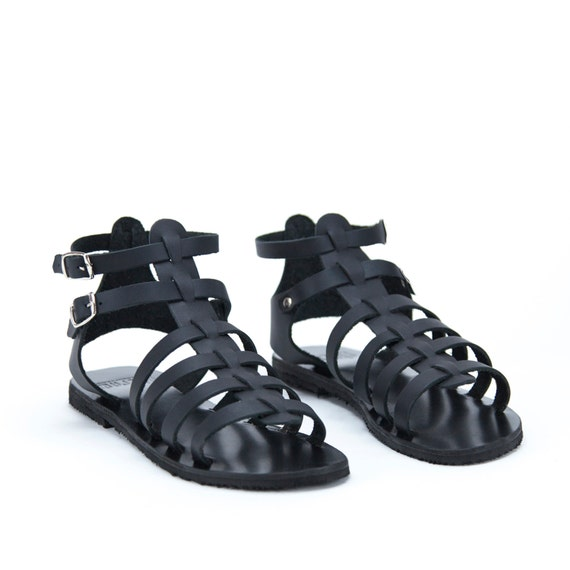 f2f5cf6c23ad Black Leather Handmade Greek Sandals Women Black Gladiators